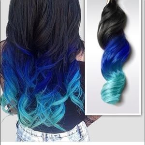 Beautiful blue hair extensions